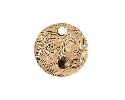 Nunn Design Antique Gold (plated) Decorative Small Circle Bezel Tag 20mm