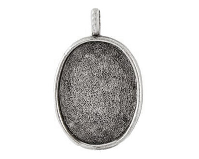 Nunn Design Antique Silver (plated) Large Oval Bezel Pendant 21x35mm