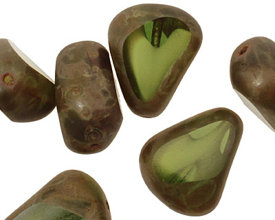 Czech Glass Green/White Picasso Chunky Table Cut Nugget 19x16mm