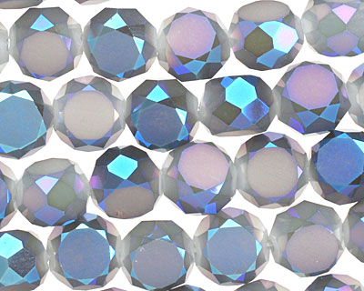 Opaque Luster Blue Crystal Faceted Table Cut Coin 10mm