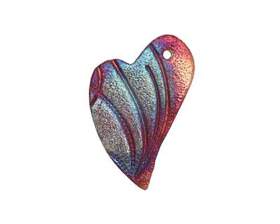 Xaz Raku Rust Blue Dreamy Heart Pendant 26x37mm