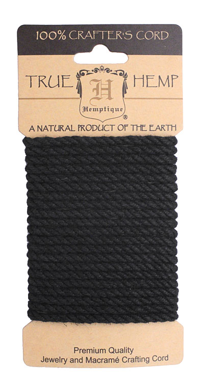 Black Hemp Rope 4mm, 3m