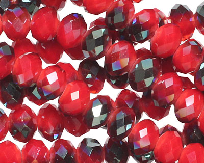 Iris Coral Red Crystal Faceted Rondelle 6mm
