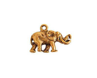 Nunn Design Antique Gold (plated) Small Elephant Charm 14x20mm