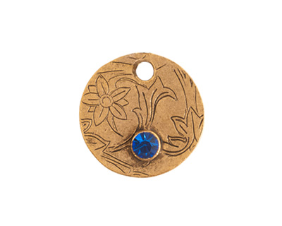 Nunn Design Antique Gold (plated) Decorative Small Circle Tag w/ Sapphire Crystal 20mm
