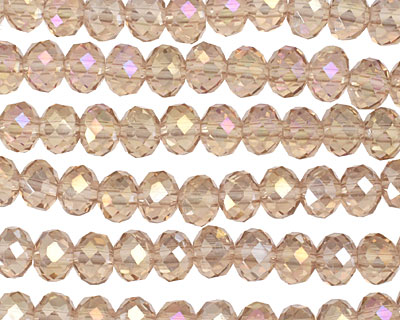 Champagne AB Crystal Faceted Rondelle 6mm