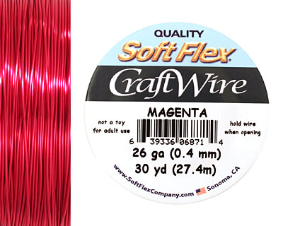 Soft Flex Magenta Craft Wire 26 gauge, 30 yards