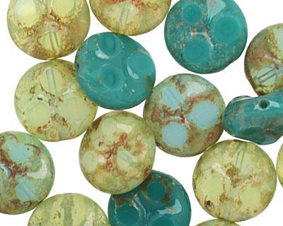 Czech Glass Peruvian Opal Dotted Coin 13mm