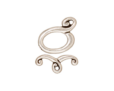 TierraCast Antique Silver (plated) Melody Toggle Clasp 12mm, 16mm bar
