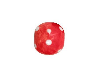 Jangles Ceramic Red/White Dotted Round 14-16mm