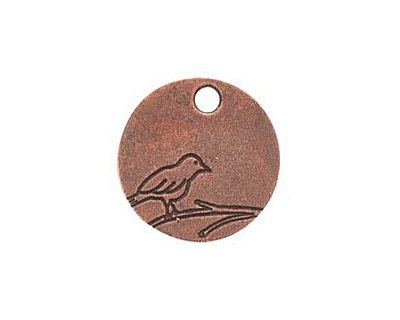 Nunn Design Antique Copper (plated) Small Circle Bird Tag 19mm