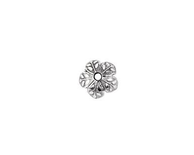 Nunn Design Antique Silver (platd) 8mm Etched Daisy Bead Cap 4x9mm