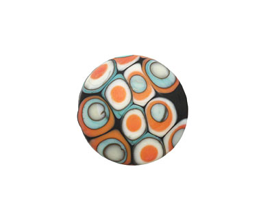 A Beaded Gift Copper Coral Mod Squad Glass Coin 18mm