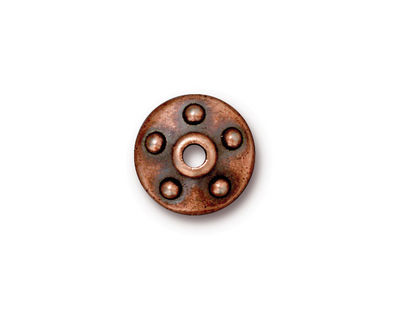TierraCast Antique Copper (plated) Large Hole Rivet Bead Cap 4x14mm