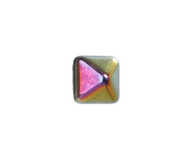 Czech Glass Jet Marea 2-Hole Pyramid Stud Bead 12mm