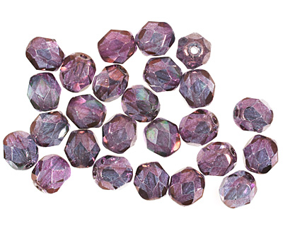 Czech Fire Polished Glass Luster Transparent Amethyst Round 6mm