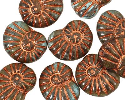 Czech Glass Copper Gray Ammonite 20x13mm