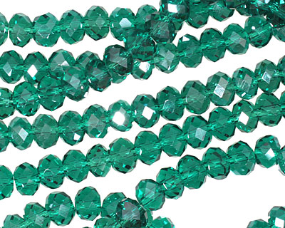 Emerald Crystal Faceted Rondelle 6mm
