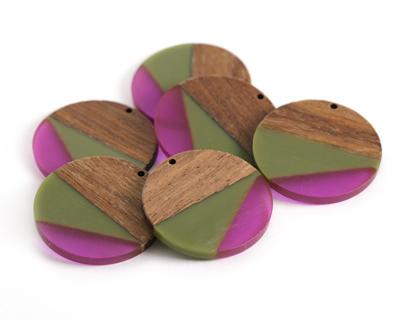 Walnut Wood & Raspberry Bush Resin Coin Focal 38mm