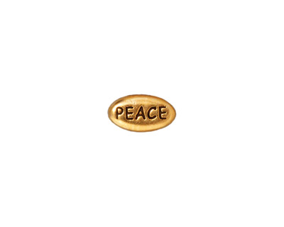 TierraCast Antique Gold (plated) Peace Word Bead 11x6mm