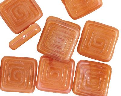 Czech Glass Peach Tribal Square 14mm