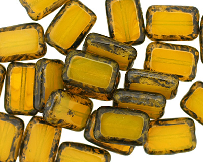 Czech Glass Milky Yellow Picasso Rectangle 12x8mm