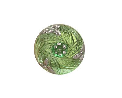 Czech Glass Peridot w/ Metallic Silver Bay Leaf Wreath Button 18mm