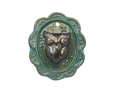 Gaea Ceramic Oval Lace Frame Owl Pendant 37-39x46mm