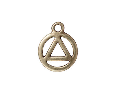 TierraCast Antique Brass (plated) Recovery Symbol Charm 15x19mm