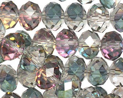Green & Pink AB Crystal Faceted Rondelle 10mm