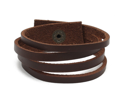 Brown Banded Leather Cuff 7/8