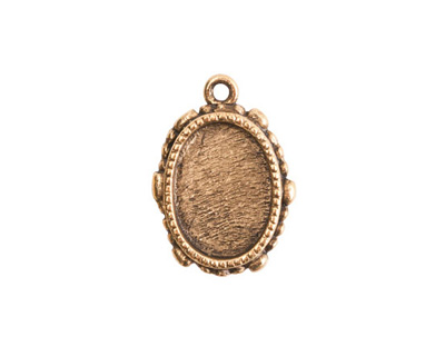 Nunn Design Antique Gold (plated) Mini Ornate Oval Bezel Pendant 15x21mm