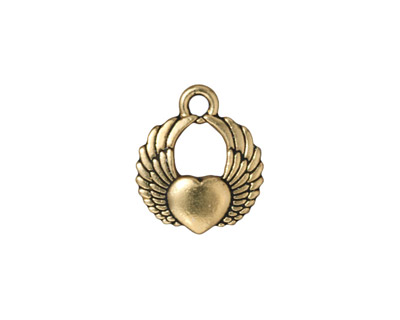 TierraCast Antique Gold (plated) Winged Heart Charm 15x17mm