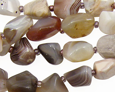 Botswana Agate Faceted Nugget 10-16x9-13mm