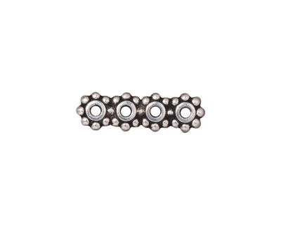TierraCast Antique Silver (plated) Beaded 4-Hole 6mm Heishi Bar 21