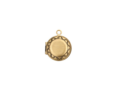 Antique Brass (plated) Small Round Ribbon Heirloom Locket 13x15mm