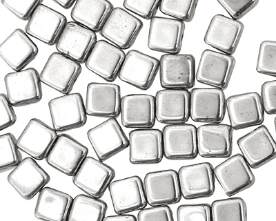 Czech Glass Silver Square 6mm