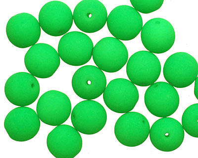 Czech Glass Bright Neon Green Round 8mm