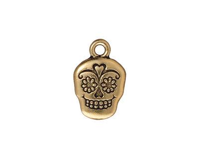 TierraCast Antique Gold (plated) Sugar Skull 13x19mm