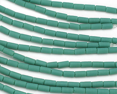 Vintage Turquoise Recycled Glass Tube 8x4mm
