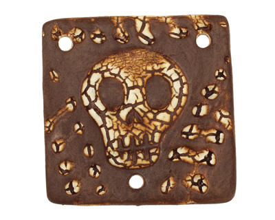 Earthenwood Studio Ceramic Crackle Skully Square Connector 40mm