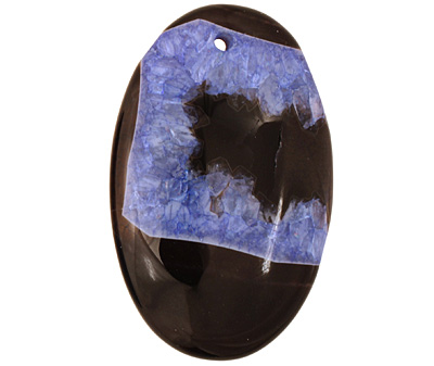 Black & Blue Agate Flat Oval Pendant 35x55mm