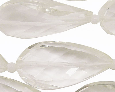 Rock Crystal Faceted Twisted Teardrop Pendant 40x20mm