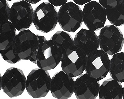 Jet Crystal Faceted Rondelle 10mm