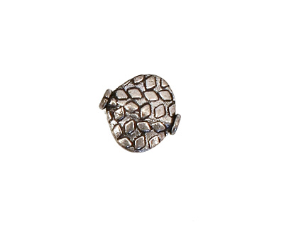Antique Silver (plated) Embossed Side Drilled Oval 15mm
