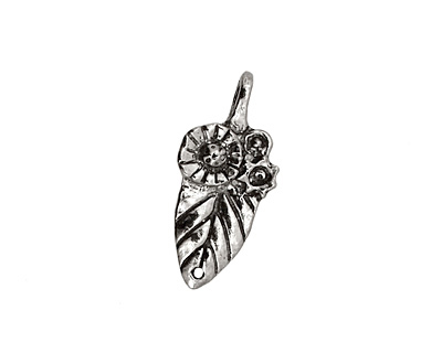 Green Girl Pewter Floral Leaf Link 25x11mm