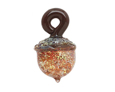 Grace Lampwork Golden Whisper Acorn 27-28x31-32mm