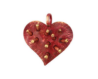 Patricia Healey Copper Spike Heart Pendant 26x27mm