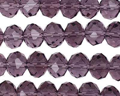 Amethyst Crystal Faceted Rondelle 10mm