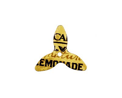 Trinket Foundry Navy & Yellow (Lemonade) Small 3 Petal Bottle Cap Flower 19mm